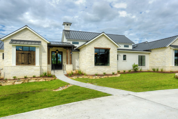 Boerne Custom Home - White Limestone Exterior Modern Farmhouse