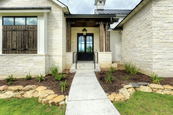 Boerne Custom Home - White Limestone Entry Modern Farmhouse