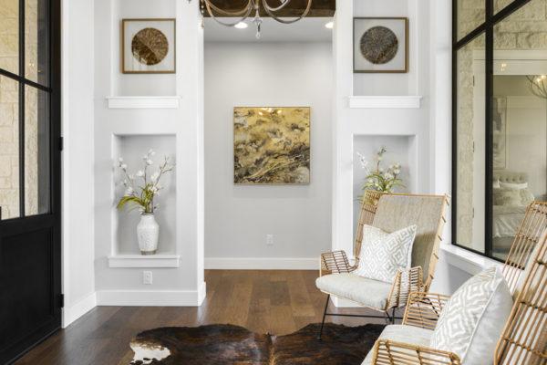 Boerne Custom Home - Modern Farmhouse Wood Beam Details on Ceiling