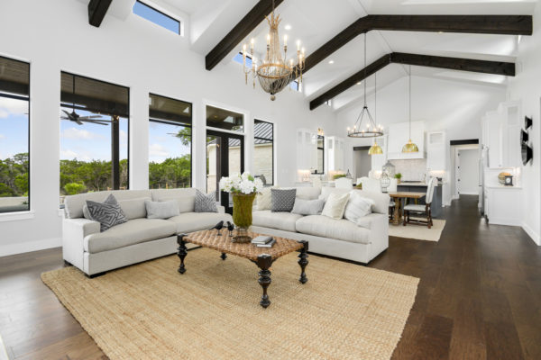 Boerne Custom Home - Modern Farmhouse Natural Light Living Room