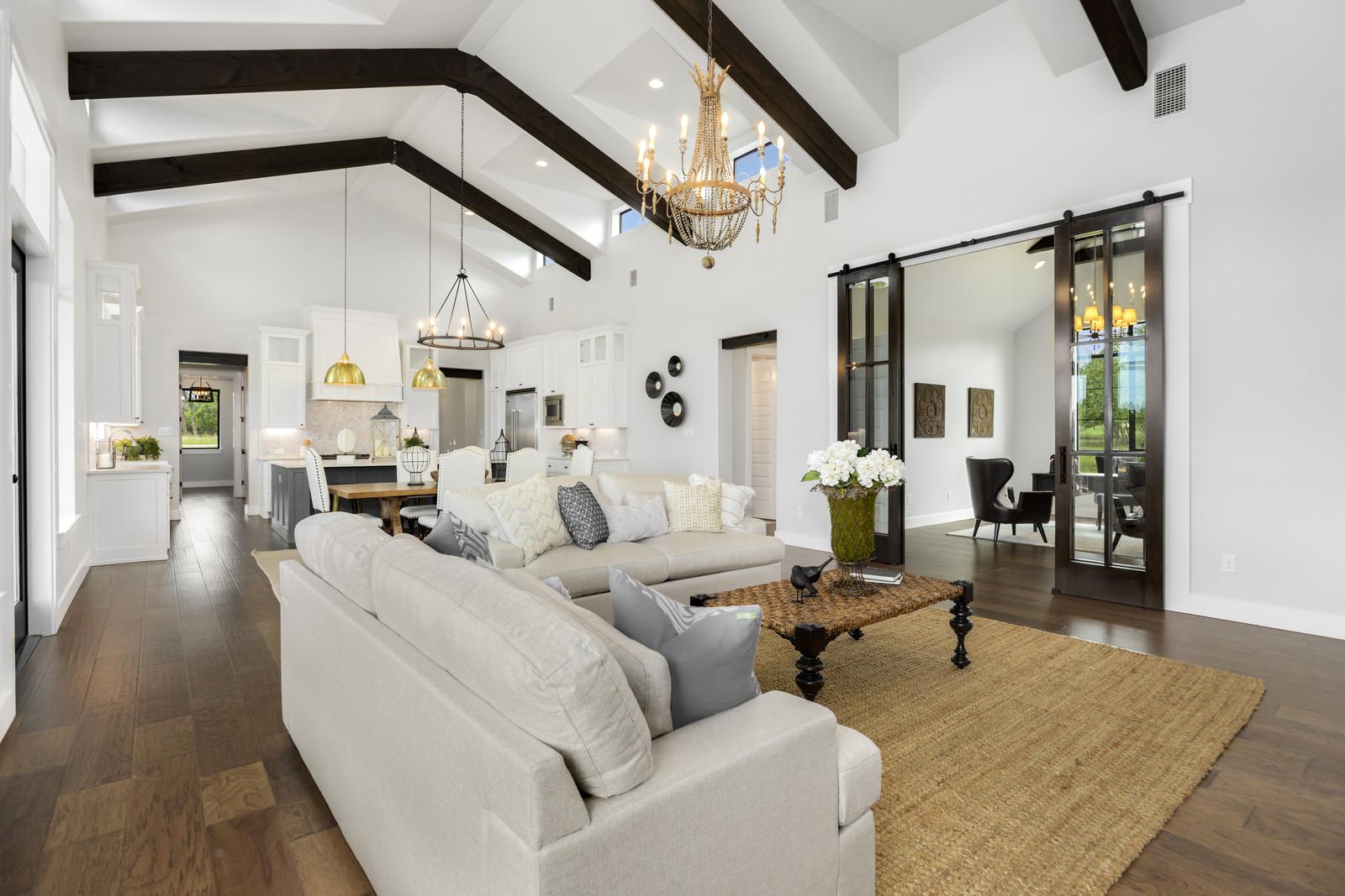 Boerne Custom Home - Modern Farmhouse Living Room Open to Kitchen