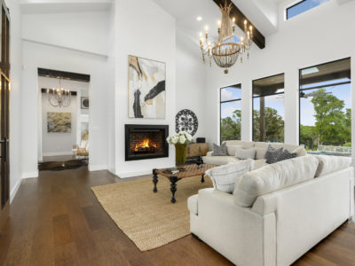 Boerne Custom Home - Modern Farmhouse Living Room with Fireplace