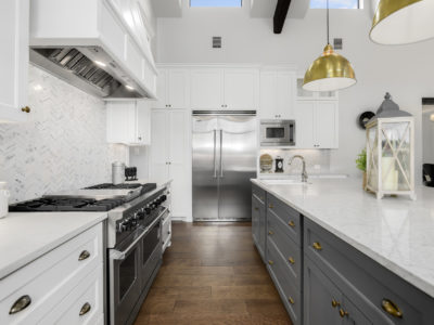 Boerne Custom Home - Modern Farmhouse Kitchen with Marble Countertops