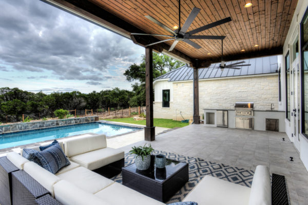 Boerne Custom Home - Modern Farmhouse Patio would wood panel ceiling