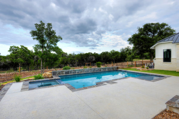 Boerne Custom Home - Modern Farmhouse Aerial View of Pool