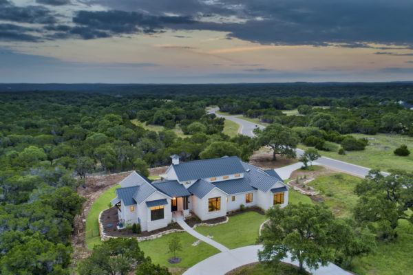 Boerne Custom Home - Aerial View of the Modern Farmhouse