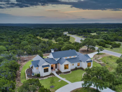 Boerne Custom Home - Aerial View of the Modern Farmhouse