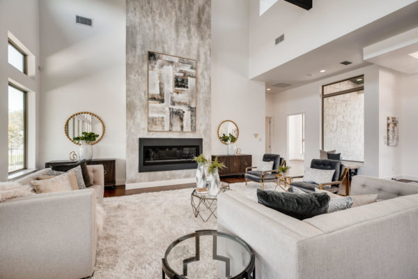 San Antonio Custom Home - Modern Living Room with Fire Place