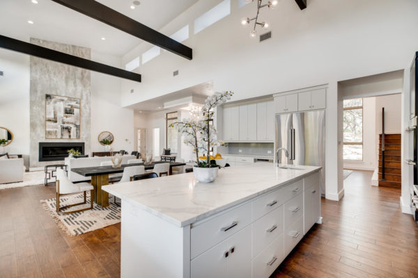 San Antonio Custom Home - Kitchen Open to Great Room