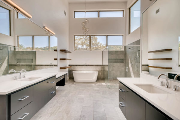San Antonio Custom Home - Bright White Master Bathroom