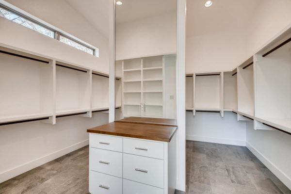 San Antonio Custom Home - Bright White Master Closet