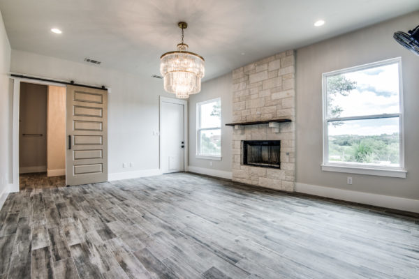 Boerne Custom Home - Master Bedroom with Fire Place