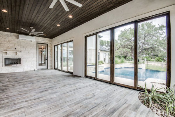 Boerne Custom Home - Game Room Open to Pool