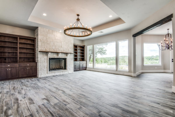 Boerne Custom Home - Great Room with White Limestone Fire Place