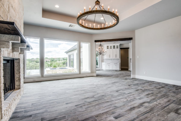 Boerne Custom Home - Living Room with Big Windows