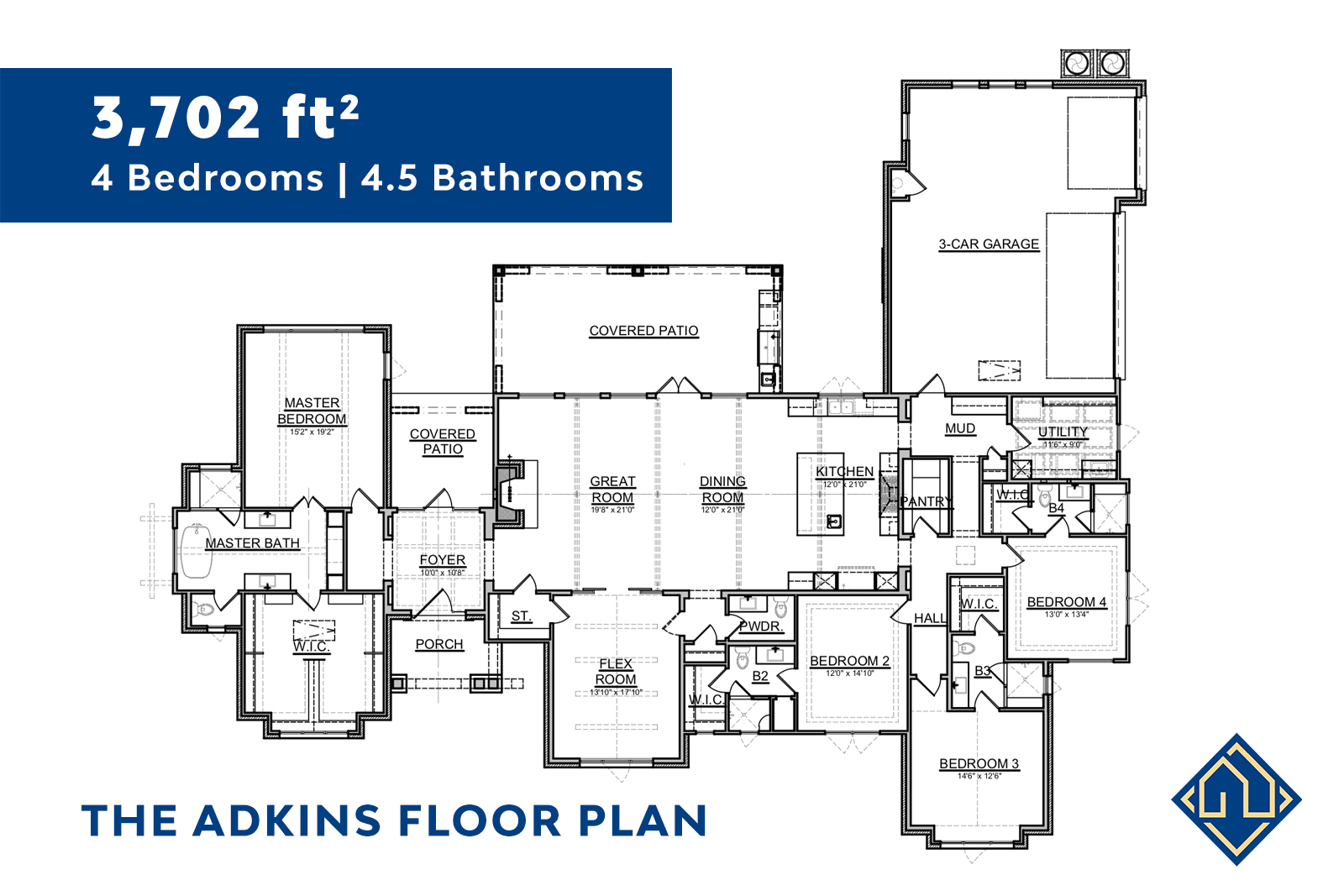 4 Bed 4.5 Bath Floor Plan with dimensions