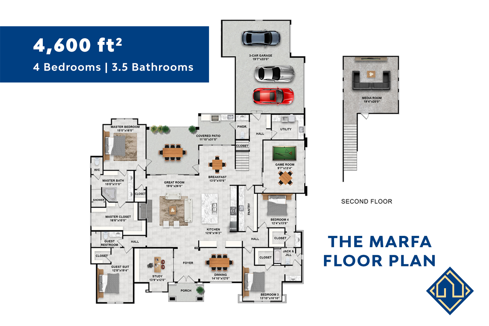 4 Bed 3.5 Bath Floor Plan