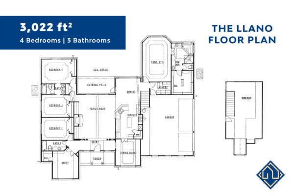 4 Bedroom 3 Bathroom Floor Plan with dimensions