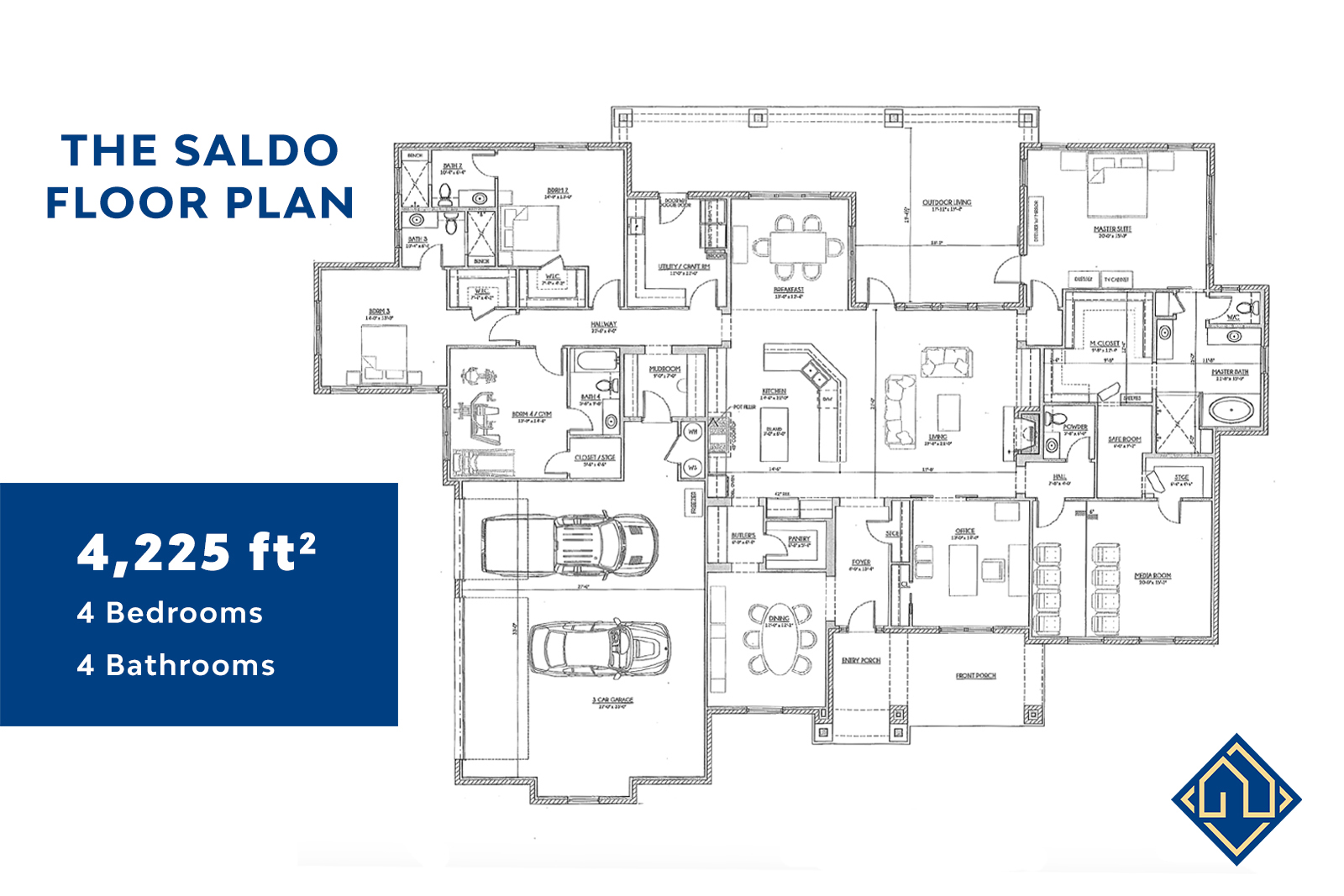 4 Bedroom 4 Bathroom Floor Plan with Dimensions