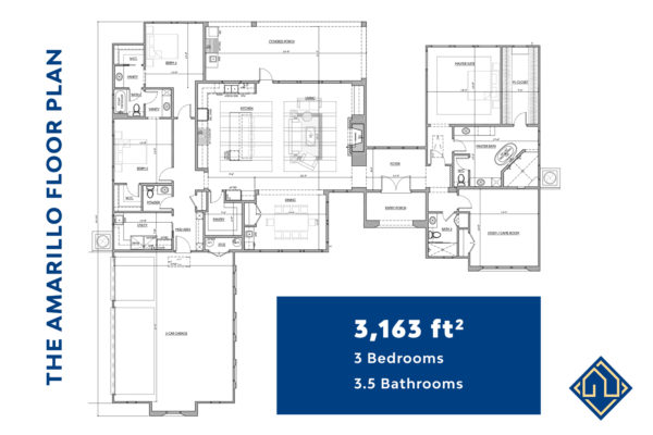 3 Bedroom 3.5 Bathroom Floor Plan with dimensions