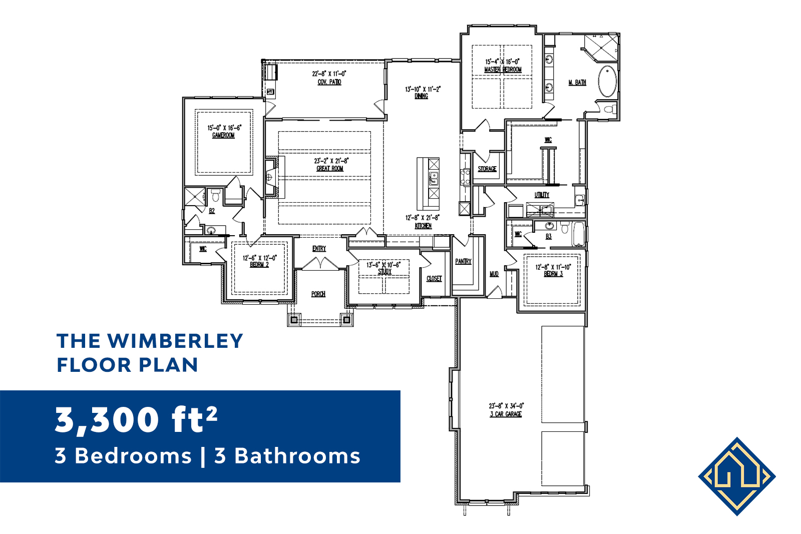 3 Bedroom 3 Bathroom Floor Plan with dimensions