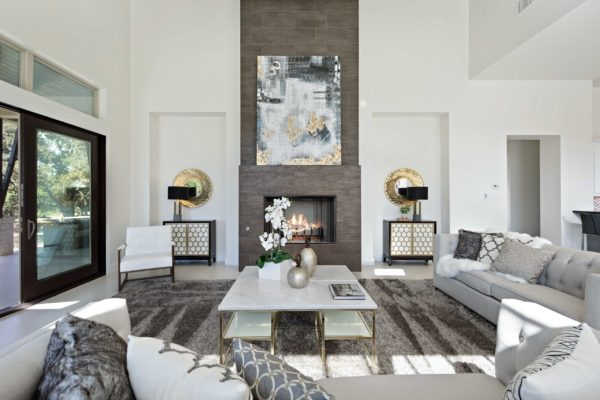 Modern Living Room View of Fireplace