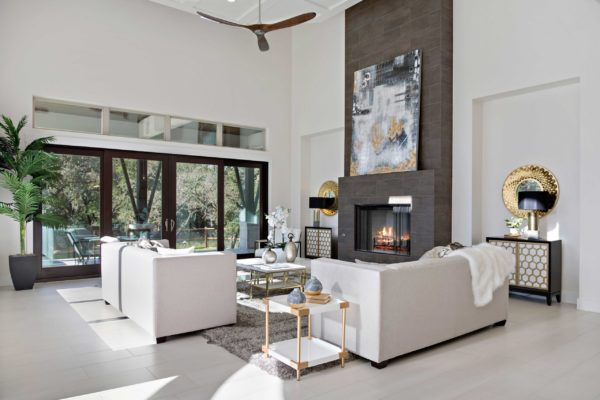 Modern Living room with gray and white ones